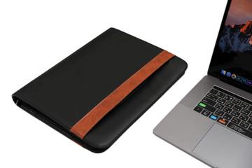 Black Leather Business Portfolio with Handles