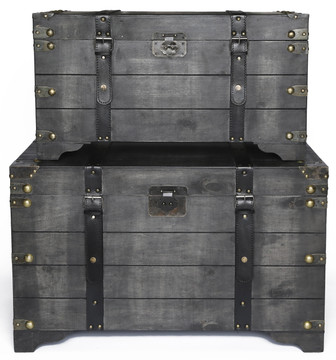 Distressed Black Large Wooden Storage Trunk Coffee Table Set of 2