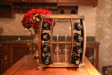 Rustic Wooden Wine Rack with Glass Holder-8 Bottle Decorative Wine Holder