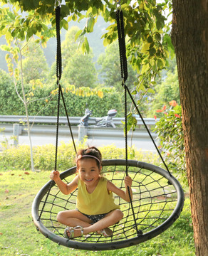 Round Net Tree Swing with Hanging Ropes
