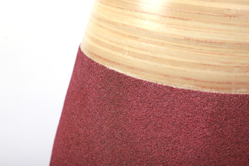 """31.5"""" Tall Handcrafted Bamboo Floor Vase, Burgundy and Natural"""