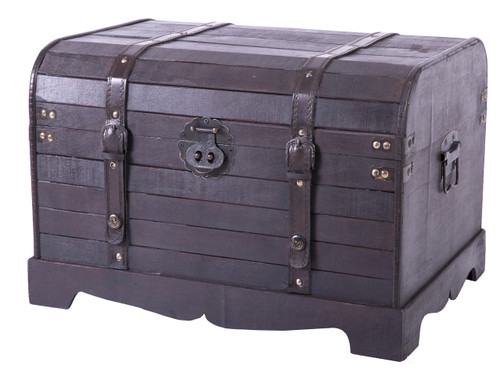 Antique Style Black Wooden Steamer Trunk
