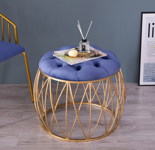 Groovy Round Tufted Blue Velvet Gold Metal Stool Set Of 2 Pdpeps Interior Chair Design Pdpepsorg