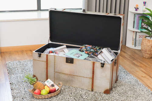 Industrial Wooden Aluminum Storage Trunk With Lockable Latches Large Quickway Imports Inc