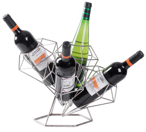 Wine Holder Vintage Wooden Metal Goblet Shaped Freestanding Present Storage