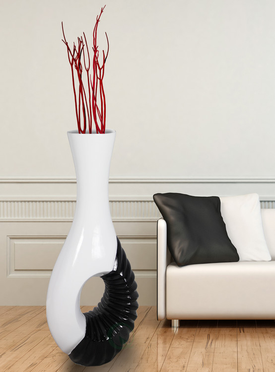 Modern Black and White Large Floor Vase-43 Inch