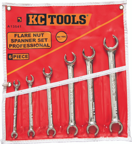 A13541 KC Tools 6 PIECE FLARE NUT SPANNER SET METRIC.