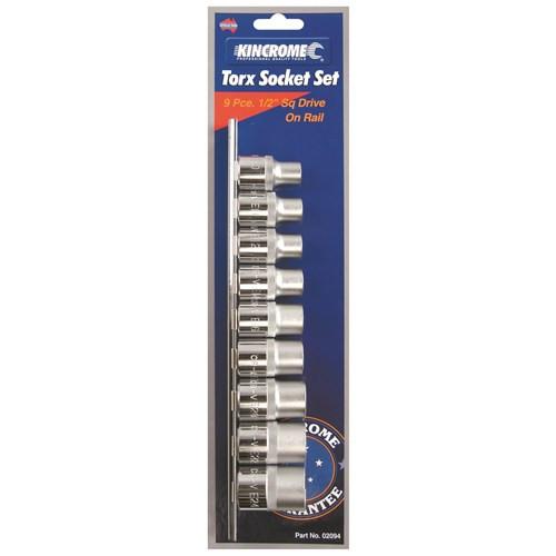 "Kincrome Torx(r) Socket Set on Rail 9 Piece 1/2"" Square Drive 02094"