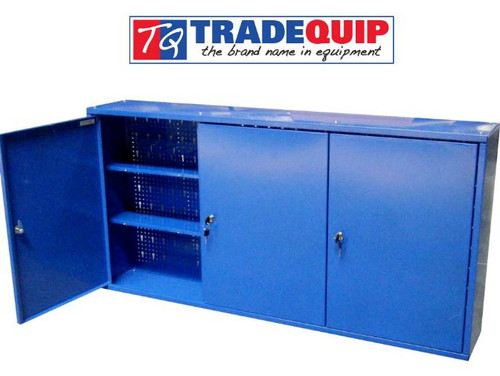 """Keep workshop tools and supplies secure with this TradeQuip """"Made for the Trade"""" space-saving Wall Mounted Tool Cabinet with three key lockable doors. Top, bottom and sides are formed into 1mm thick welded steel cabinet. Can be hung on wall or used freestanding. A strong steel constructed wall cabinet with three storage compartments and lockable doors. This tool cabinet/ cupboard is ideal for securely storing tools. Perfect solution to keep your workshop organised and tidy.  Features: Three compartments each have 2 adjustable shelves for versatile storage.  Compartments have separate door locks, each with 2 keys supplied Perforated and slotted back panel to allow for the hanging of tools High gloss enamel paint finish Supplied with mounting brackets   Specifications Steel Construction 1mm Thick Sheet Steel 3 Lockable Cupboards 6 Adjustable Shelves 6 Peg Board Hooks Dimensions: 1200(L) x 600(H) x 200(W) mm Weight: 19kg Carton 1 of 2: 640 x 440 x 80mm Carton 2 of 2: 1290 x 270 x 90mm"""