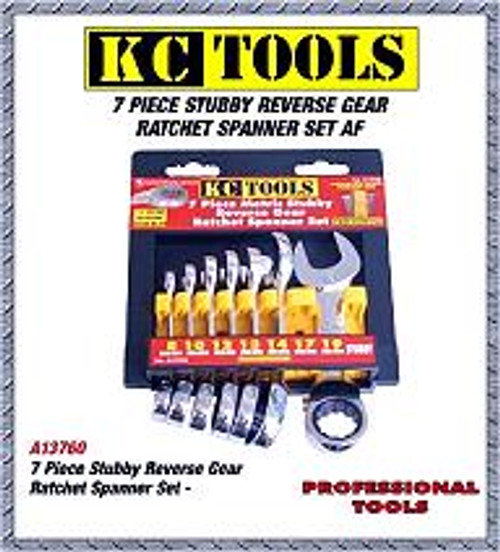A13700 Kc Tools 7pce Stubby Reverse Gear Spanner Set MM.