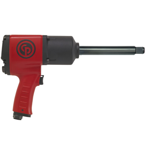 """This CP7763-6 3/4″ extended anvil heavy duty air impact wrench is popular amoungst many industries and is renown for its rugged durability, high torque and light weight. The CP7763-6 is easy to use with the ergonomic pistol D handle. The full teasing trigger allows precise control of the tool. Torque settings and directions are change on the rear of the tool. This tool is built tough to withstand the harsh working environments that it call home. The 6 """" extended anvil is the ideal 3/4″ impact wrench for truck workshops, industrial maintenance, farming, mining where long reach into wheels is required. The max torque is 1200 ft/lb 1627Nm  Benefits Reinforced clutch mechanism Great power for general maintenance applications Low vibration for a better operator comfort  Features 3/4″ Pistol Grip-handle impact wrench Twin Hammer Clutch ergonomic side handle Integrated protective cover on the clutch housing Full teasing trigger Regulator with integrated forward/reverse with 3-position power settings in both directions  Specifications Blows per minute: 900 Net weight: 13.85 lb 6.28 kg Power/weight ratio: 86.6 ft.lb/lb 259.6 Nm/kg Length: 15″ 381 mm Average air consumption: 7.5 cfm Actual air consumption: 30 cfm Air inlet thread size: 3/8 """" Min. hose size: 1/2″ 13 mm Noise level: 96 db(A) Sound Power: 107 db(A) Vibration α (ISO-28927-2): 10.4 m/s² Vibration K (ISO-28927-2): 4.2 m/s²"""