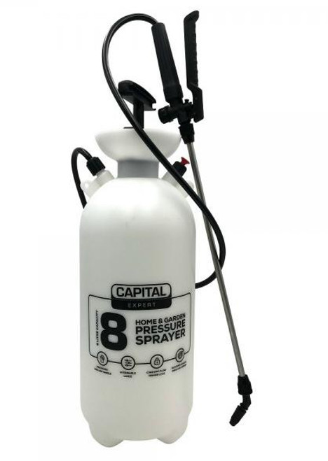 FEATURES 8 Litre capacity Ultimate pressure Heavy Duty Fittings Extendable lance (0.71 to 1.03m) = no more bending 1.2m hose length Comfortable padded shoulder strap.  Strong metal pump shaft and safety release vavle No spill in-built funnel Accurate adjustable spray nozze Ergonomic trigger & handle Reliable heavy duty pump 2 year warranty