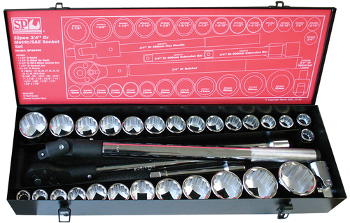 "SP20400 Sp Tools Heavy Duty 32pc 12pt MM/SAE 3/4"" Dve Socket Set"