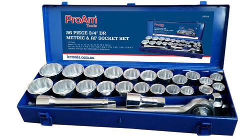 "KC ProAm Socket Set 26 Pce AF/Metric 3/4"" Drive"