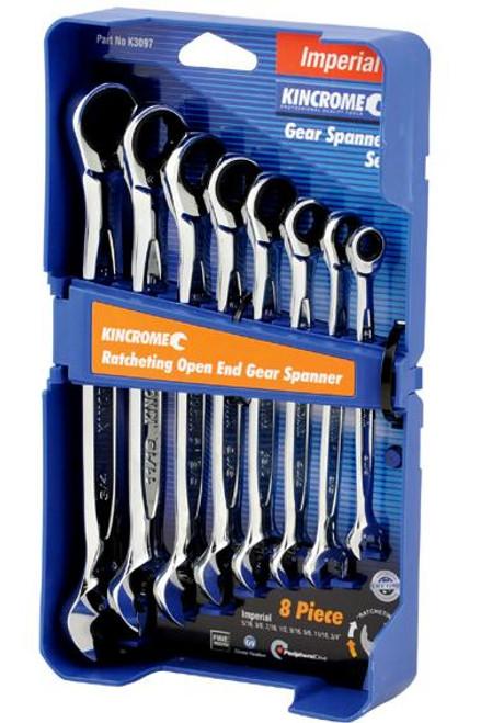 Kincrome Gear Spanner Set  Ratcheting Open End 8 Pce AF K3097