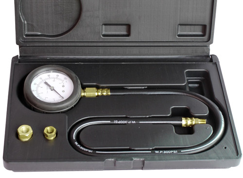 Highly accurate Large and easy to read dial Pressure scale: 0-100psi / 0-700kpa Gauge fitted with heavy duty rubber bumper 610mm long flexible hose Includes adapters to suit most vehicles Housed in heavy duty case