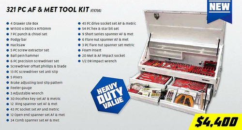 KC Tools 321pce Field/Onsite Technicians Toolkit. Great for Utes!