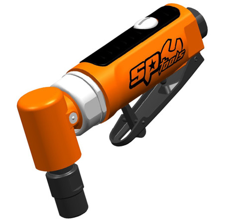 """SPECIFICATIONS: Speed: 18,000rpm Capacity: 6.35mm Length: 124mm Net Weight: 400g Average Air Consumption: 125L/min Recommended Air Pressure: 90psi Minimum Hose Size: 3/8"""" in.  FEATURES: 90° angle head, ideal in tight spaces Graduated trigger control Safety lock throttle lever prevents accidental start up Ergonomic design handle Front exhaust"""