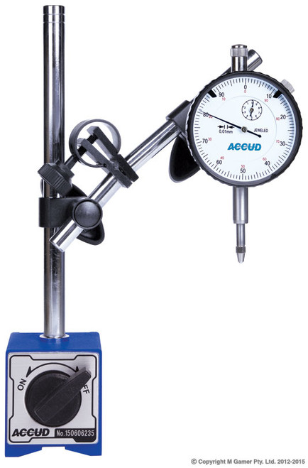 """Magnetic Stand Stem hole: Ø8mm, Ø4mm, 3/8"""" Magnetic Force: 60kgf Dial Range: 1"""" Graduation: 0.001"""" Accuracy(fges): 0.004"""" Dial: Supplied with limit hands and bezel clamp Lug back Magnetic base: for dial/digital indicators and dial test indicators V-block base"""