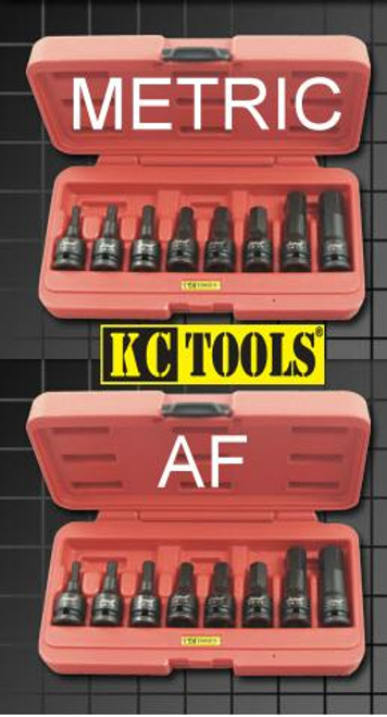 "KC Impacta AF & Metric 1/2"" Dve In-Hex Impact Socket Set Duo Pack"