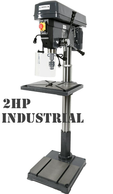 BORUM 2HP INDUSTRIAL SERIES 12 SPEED FLOOR DRILL. Stock now limited!
