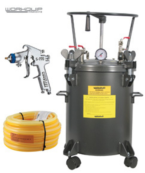 WORKQUIP 20LTR PRESSURE POT MANUAL AGITATION KIT WITH HOSE & S770 2.5mm SPRAYGUN