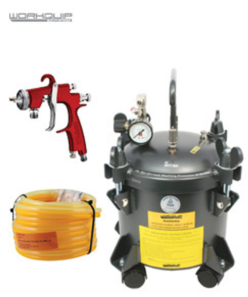 WORKQUIP 10 LTR PRESSURE POT KIT NON AGITATION 02210P15 15M HOSE & S2000F 2MM SPRAYGUN