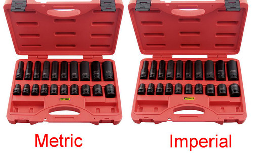 "For one low price you can score BOTH the 11321 Metric Deep/Standard 1/2"" Impact Socket set and the 11320 AF Deep/Standard 1/2"" Impact Socket set. These KC Sets are QUALITY all the way. If you need Impact sockets that will last the rigors of your workshop, then these are the sets you need! AF Deep Sizes 7/16, 1/2, 91/16, 5/8, 11/16, 3/4, 13/16, 7/8, 15/16, 1""  AF Standard Sizes 3/8, 7/16, 1/2, 9/16, 5/8, 11/16, 3/4, 13/16, 7/8, 15/16""  MM Deep Sizes 10, 12, 13, 14, 16, 17, 19, 21, 24mm  MM Standard Sizes 10, 12, 13, 14, 15, 16, 17, 19, 21, 22mm If you need to top up your Impact sockets then this deal is the one!"