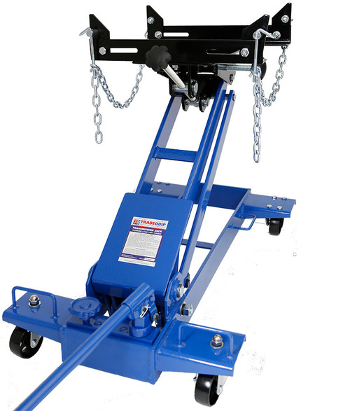 Features The adjustable lifting platform can be tilted forward, backward for alignment of transmission bolt patterns and pins Lateral lifting platform adjustment improves efficiency Hydraulic system is protected from overload damage Safety load-restraining chain is vital for raising and lowering safety Four (4) swivel castors allow easy movement and positioning of transmission jack Rugged heavy duty steel wheels with full swivel ball bearing castors User-friendly 360° rotating pumping handle for maximum multi-directional operation  Specs: Safe Working Capacity: 1,000kg Maximum Height: 725mm Minimum Height: 205mm Lifting Platform Size: 340x200mm Tilt Forward: 70° Tilt Backward: 15° Lifting Platform Lateral Adjustment: 90mm Chassis: 850(L)x490(W)x305(H)mm Nett Weight: 54kg Carton 910 x 520 x 260mm Gross Weight: 59.5kg  Intended Use
