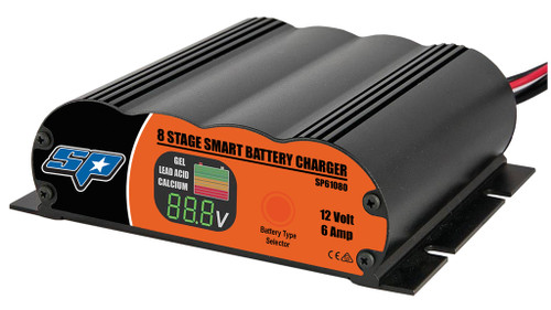 The new range of SP Smart Battery Chargers are here! Forget those big cluncky units these are streamlined, technologically superior and priced to move! Features: • LED display percentage of battery charge, larger • Built-in microchip charging control and monitoring system. • Zero volt minimum start – can charge a completely flat battery. • Automatic adjustment of charging voltages according to environmental temperature. • Overcharge protection, protecting the battery from damage due to overcharging. • Reverse polarity, short circuit, overload and high temperature protection. • Optimally designed charging cycle designed for Lead Acid / AGM, Gel, & Calcium,starting and deep cycle batteries. • Battery Testing function while charging (faulty batteries cause the full battery bardisplay to flash). Specs: • Charge Stages: 8 Stages • Current Output: 6 Amp • Output Voltage (Nom): 12 Volt • Battery Type Supported: Gel/Calcium/ Lead Acid - AGM