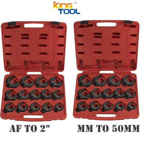 """Save heaps on this double Metric & AF Jumbo Crowsfoot Spanner Pack. Offering all the LARGER sizes you just can't find in a Crowsfoot Impact Set. These are very hard to find in any breed with such a comprehensive size range so it is nice to know that you can grab this quality KC set (with all these sizes) and still get a bargain price too! The new HUGE sized sets are here.  Full Trade/Impact quality CRV construction.  All with 1/2"""" dve and excellent size range.  The duo pack gives you both metric and af 1-1/16, 1-1/8, 1-3/16, 1-1/4, 1-5/16, 1-3/8, 1-7/16, 1-1/2, 1-5/8, 1-11/16, 1-3/4, 1-13/16, 1-7/8 & 2"""". 27, 29, 30, 32, 33, 34, 35, 36, 38, 41, 43, 46, 48 & to 50mm."""