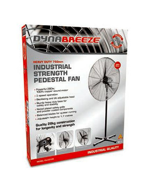 DYNABREEZE 750MM WORKSHOP PEDESTAL FAN COPPER WOUND MOTOR