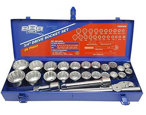 """888 by SP Tools 27 Pce 3/4"""" Socket Set AF & Metric."""