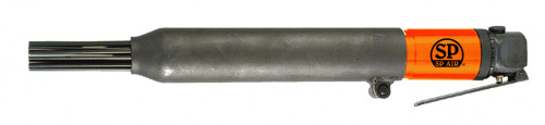 Needle Diameter: 1/8 x 7 Number of needles: 19 Weight: 2.7kg  Ideal for removal of paint and rust from solid surfaces The inline configuration makes it well suited for use in awkward locations  This tool is perfect for removal of moderate amounts of paint and rust, as well as scarifying concrete surfaces.