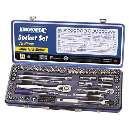 """Kincrome K2148 75 Piece 1/2"""" & 3/8"""" AF/Metric Socket Set"""