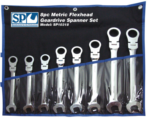 SP10318 SP Tools 420mm Long 8pc Flexhead Metric Geardrive Wrench Spanner Set