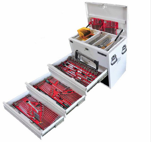 """Great Toolkit housed in the KC Heavy duty 3 Drawer Ute Box perfect for the Ute or 4x4 tough as nails specifically designed for the mobile Mechanic!   Contents: UB3 3 Drawer Ute Box (735 x 465 x 586mm) Tools • 3 high density foam inserts  • 45pc 1/4"""" & 3/8"""" DR socket set Metric & AF  • 43pc 1/2"""" DR socket set Metric & AF  • 13pc screwdriver set  • Offset screwdriver, Blade & Phillips  • 6pc Metric & 6pc AF open end spanner set  • 6pc Metric & 6pc AF ring spanner set  • 12pc Metric & 12pc AF comb spanner set  • 9pc Metric & AF XS comb spanner set  • 6pc precision screwdriver set  • 5pc screw extractor set  • 30pc hex key set Metric & AF  • 8pc long pin punch set • 7pc punch & chisel set  • 3pc Metric & 3pc AF flare nut spanner set  • 28pc hex & star bit set  • 450g ball pein hammer 8mm break adjuster  • 300mm hacksaw  • 150, 200 & 300mm adjustable wrenches  • 450mm podger bar  • 180mm diagonal cutters  • 200mm combination & long nose pliers  • 250mm multigrip & locking pliers  • 32 blade end feeler gauge"""