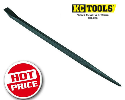 """Take advantage of this excellent 24"""" super heavy duty KC Tools Pry bar at below half price! At this price grab a few they will sell out for sure. Specialty designed for strength is high use situations this unit is excellent for lifting and aligning work. Features: Curved chisel end with tapered aligner.  24"""" (615mm) long and black finished."""