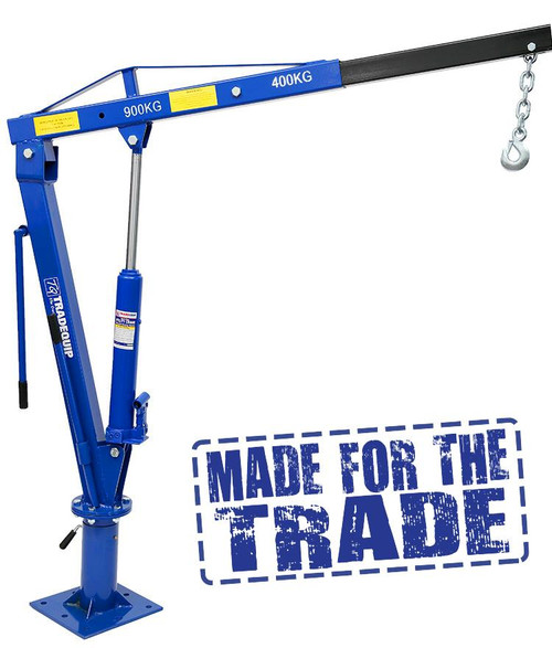 Features Pre-drilled base plate makes mounting quick and easy Handles up to 250kg in extended mode and 900kg in retracted mode Includes chain hook with chain slot lock and one cable hook both with safety latch Base rotates 360 degrees Designed for vertical lifting only Not to be used for lifting personnel or overhead lifting All steel construction Boom stores over wheel well when not in use  Specifications Hydraulic Jack Capacity: 3,000kg Hydraulic Lifting Capacity: 250 - 900Kg Maximum Reach of Boom: 1290mm (250kg) 870mm (900kg) Maximum Height (hook height): 2300mm (250kg) 2000mm (900kg) Minimum Height:: 1425mm (from ute tray to boom pivot - excluding boom) Mounting Base:275 x 275mm Mounting Base Holes: 8 holes x 16mm (dia) x 110mm (centre-centre) Weight: 48kg Carton 1 of 2 : 1110 x 250 x 180mm Carton 2 of 2 : 340 x 330 x 320mm
