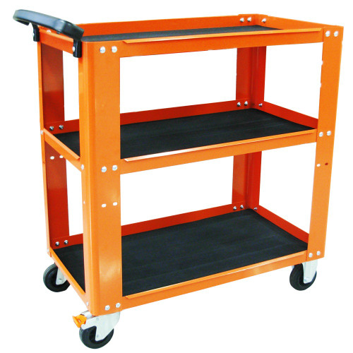 Solid Steel Frame 150kg Load Capacity Adjustable middle tray - drop down for more tray space 2x Fixed & 2x lockable swivel heavy duty castors  3 Shelf Custom Series Service Trolley - 870w x 475d x 848h (mm) Top tray area 770w x 445d Middle tray area 770w x 445d x 285h (Adjustable Height) Bottom tray area 770x x 445d x38