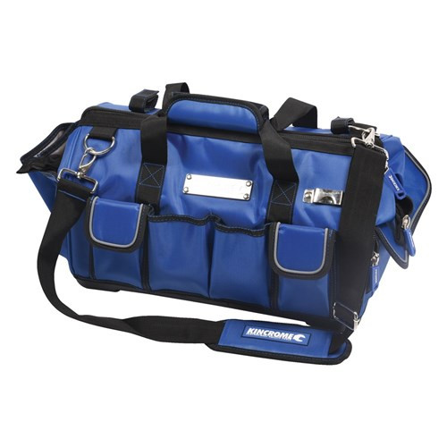 FEATURES • Easy access, reinforced wide mouth design • 22 internal & external pockets • Tough plastic base • Rear spirit level straps • Rear hip padding • Rear mesh pockets • Tape measure clip • Adjustable padded shoulder strap * Please note: Product does not include tools as pictured.