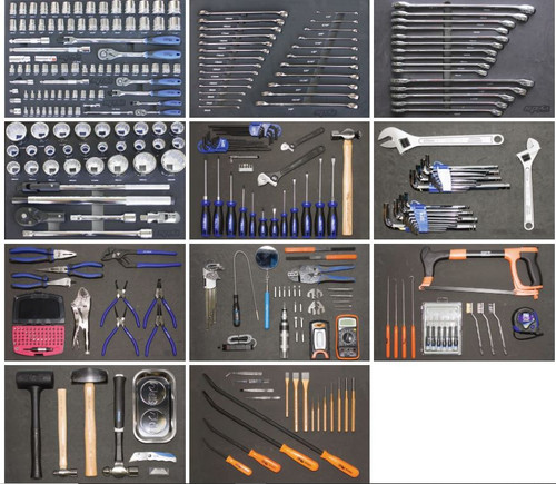 See this for contents of this kit. Please note not all tools come in trays (see pic)
