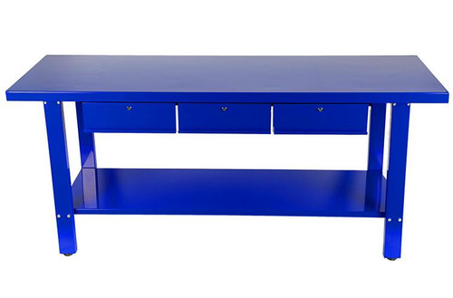 "Specifically designed for professional workshop use, the Tradequip ""Made for the Trade"" Steel 3-Drawer Workbench is manufactured from high quality, heavy-duty steel and features a large surface for more work space and an extended lip around the surface of the table. Also included is a bottom shelf for storage and 3 locking drawers to secure valuable tools and materials. The tough high gloss enamel paint finish is designed to provide years of protection against normal wear and tear.  Features Heavy Duty Steel Construction High Gloss Enamel Paint Finish Includes bottom shelf and 3 locking drawers  Specifications 300kg Load Capacity Each drawer holds up to 50kg 3 Lockable Drawers - 1.5mm Sheet Steel Drawer size: 350(W) x 420(D) x 140(H) mm Dimensions: 2000(L) x 860(H) x 640(W) mm SHIPPING INFO:  These are big and heavy so $49 shipping is to all METRO areas only! If you are in a rural location there may be a small shipping surcharge. We will contact you by email prior to billing if this is the case.  DELIVERY INFO:  As these units ship on a pallet or skid they cannot be shipped/delivered to a private residence for health and safety reasons/rules We will require a business address for delivery of this order and they must have a forklift for unloading. Please call Edward (logistics coordinator)on 0416009711 if you have any questions regarding this OR if you wish to collect from the WA SA or VIC warehouses (if in stock in these states)"