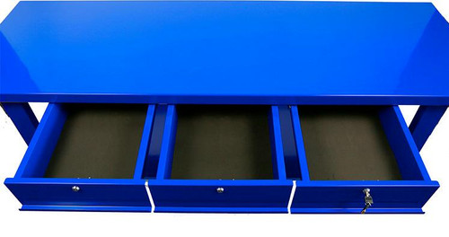 Tradequip 3 Drawer Steel Workbench Blue