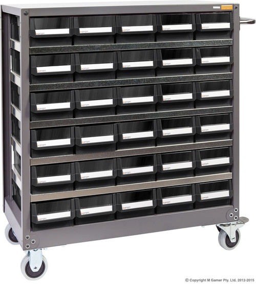 Features Each drawer comes with 2 movable dividers and is acid and oil resistant. The drawers on the NHD530 feature transparent windows for easy parts identification and are designed to be fully opened and not fall out, even at the 10 Kg maximum weight limit. Specs: 30 Drawer Parts Cabinet 980W mm x 400D mm x 1010H mm (inc handle and caster wheels)