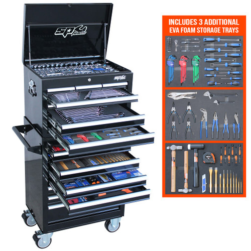 """KIT INCLUDES:  1/4""""Dr Sockets & Accessories 12pt - 4, 5, 6, 7, 8, 9, 10, 11, 12 & 13mm 12pt - 3/16, 7/32, 1/4, 9/32, 5/16, 11/32, 3/8, 7/16 & 1/2"""" Torx - T10, T15, T20 & T25 Inhex - 3, 4, 5 & 6mm, 1/8, 5/32, 3/16, 7/32 & 1/4"""" 45T Ratchet, Flex Handle & Universal Joint Extension Bars - 50 & 150mm 3/8""""Dr Sockets and Accessories 12pt - 6, 7, 8, 9, 10, 11, 12, 13, 14, 15, 16, 17, 18, 19, 20, 21 & 22mm 12pt - 1/4, 5/16, 3/8, 7/16, 1/2, 9/16, 5/8, 11/16, 3/4, 13/16 & 7/8"""" Deep 12pt - 10, 11, 12, 13, 14, 15, 16, 17, 18 & 19mm Deep 12pt - 5/16, 3/8, 7/16, 1/2, 9/16, 5/8, 11/16 & 3/4"""" Torx - T27, T30, T40, T45, T50 & T55 Inhex - 6, 7, 8, 9 & 10mm, 3/16, 7/32, 1/4, 5/16 & 3/8"""" Spark Plug Sockets - 5/8 & 13/16"""" 45T Ratchet, Flex Handle & Universal Joint Extension Bars - 75 & 150mm Adaptors - 3/8Fx1/4M (2) & 3/8Fx1/2M 1/2""""Dr Sockets & Accessories 12pt - 10, 11, 12, 13, 14, 15, 16, 17, 18, 19, 20, 21, 22, 23, 24, 26, 27, 30 & 32mm 12pt - 3/8, 7/16, 1/2, 9/16, 5/8, 11/16, 3/4, 13/16, 7/8, 15/16, 1, 1-1/16, 1-1/8, 1-3/16 & 1-1/4"""" 45T Ratchet, Flex Handle & Universal Joint Extension Bars - 75 & 125mm Spark Plug Sockets - 5/8 & 13/16"""" Adaptor - 1/2Fx3/8M Spanners Quad Drive Combination Spanners - 6, 7, 8, 9, 10, 11, 12, 13, 14, 15, 16, 17, 18, 19, 20, 21, 22, 23, 24, 25, 26, 27, 30 & 32mm Quad Drive Combination Spanners - 1/4, 5/16, 3/8, 7/16, 1/2, 9/16, 5/8, 11/16, 3/4, 13/16, 7/8, 15/16, 1, 1-1/16, 1-1/8 & 1-1/4"""" Flare Nut Spanners - 10x11, 12x13, 14x17 & 19x22mm Flare Nut Spanners - 3/8x7/16, 1/2x9/16, 5/8x11/16 & 3/4x7/8"""" Tools Screwdrivers - 3.0x75, 5.5x100, 6.5x38, 6.5x100, 6.5x150 & 8.0x150mm Screwdrivers - #0x75, #1x75, #2x38, #2x100, #2x150 & #3x150mm Screwdrivers - T8, T10, T15, T20, T25, T27, T30 & T40 Precision Screwdrivers - 2.0x50, 2.5x50, 3.0x50, #0x50, #00x50 & #000x50mm Hex Keys - 1.5, 2, 2.5, 3, 4, 5, 6, 8 & 10mm Hex Keys - 1/16, 5/64, 3/32, 1/8, 5/32, 3/16, 1/4, 5/16 & 3/8"""" Torx Keys - T10, T15, T20, T25, T27, T30, T40 & T50 Hex Keys Stubby - 2, 2.5, 3, 4, 5, 6, 8"""