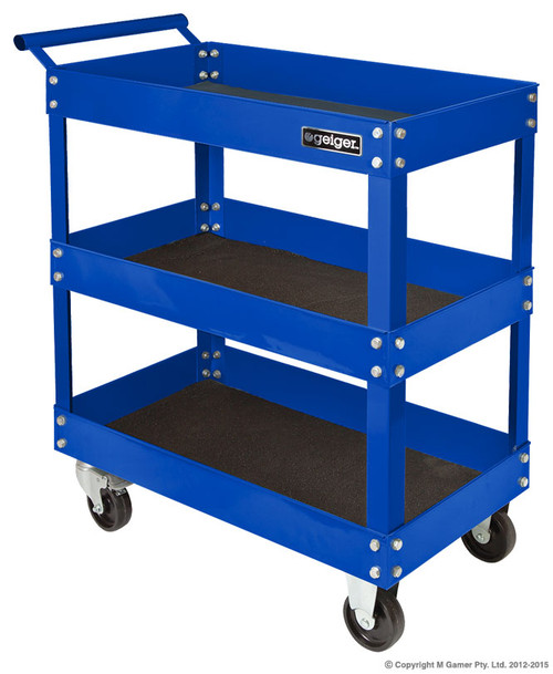 Max. Load: 150 Kg all with foam inlays 1.6 Mm steel uprights 3 Shelves & front mounted tray, Size: 410W MM x 760D MM x 885H MM  Two lockable casters with ball-bearing sliders
