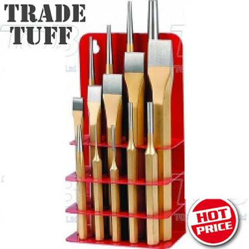 """Take advantage of the super price on this Trade Grade 14 Piece Chrome Vanadium Chisel Set packed in bonus Metal Stand. Amazing value here guys these are tough as old boots and made to last and perform day after day. Features & Contents: HRC54-58 high grade constructions Trade quality materials and presentation 1 x Centre Punch: 1/8"""" x 3/8"""" x 5"""" 5 x Cold Chisel: 1/2"""" x 3/8"""" x 6"""", 5/8"""" x 1/2"""" x 7"""", 3/4"""" x 5/8"""" x 7"""", 7/8"""" x 5/8"""" x 8"""", 1"""" x 3/4"""" x 8 1/2"""" 4 x Pin Punch: 1/8"""" x 3/8"""" x 5"""", 3/32"""" x 3/8"""" x 5"""", 3/16"""" x 3/8"""" x 6"""", 1/4"""" x 1/2"""" x 6"""" 4 x Taper Punch: 1/8"""" x 3/8"""" x 8 1/2"""", 1/8"""" x 1/2"""" x 10"""", 5/32"""" x 1/2"""" x 9"""", 3/8"""" x 5/8"""" x 10"""""""