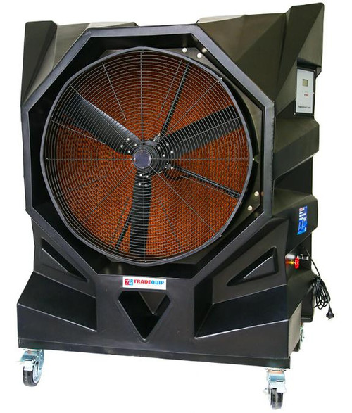 "Using the process of evaporation, this TradeQuip ""Made for the Trade"" Portable Direct Drive 3-Speed Cooling Unit will cool the air up to 10°C in all large hard-to-cool working areas. The one-piece moulded polyethylene housing will not crack, leak and is rugged enough for any workshop or outdoor environment. The remote control 3-speed fan forces warm air over rigid water soaked evaporative cooling media to reduce ambient temperatures by up to 10°C. Ideal for cooling high performance vehicles when used with Dynometers.  Features One-piece moulded polyethylene housing will not crack and is rust and leak proof Environmentally-friendly alternative to traditional A/C Cools where traditional cooling methods are impractical or cost-prohibitive Water level sight tube Dual pour in refill water inlet and/or 3/4"" hose fitting for automatic tap refill Adjustable water flow and drain valve Direct drive Durable and long lasting Nylon castors for easy portability Remote control speed adjustment Low installation and maintenance costs 75% less electricity usage Adds moisture to the air, for dry environments No ozone damaging refrigerants Ready to operate out of the box"