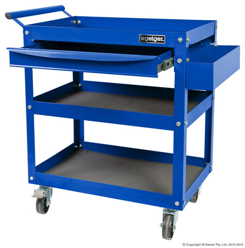 3 Shelves, side container and drawer 470W x 785D x 825H mm (including handle) Able to carry a massive 150 kg the GT3SD is the parts trolley for the serious workshop. Two fixed casters and two with brakes, make this unit very safe and easy to maneuver.